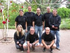 2. Mannschaft in Bad Kreuznach am 3. Ligaspieltag; h.v.l.n.r.: Alex, Roland, Christoph, Stefan, Frank u.v.l.n.r.: Anja, Peter, David